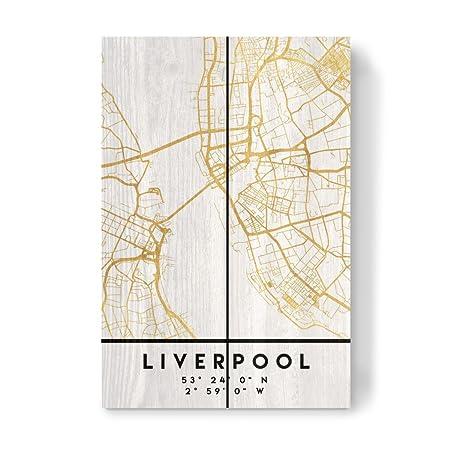 Map Of England Liverpool.Artboxone Wood Print 30x20 Cm Maps Liverpool England Street Map Art