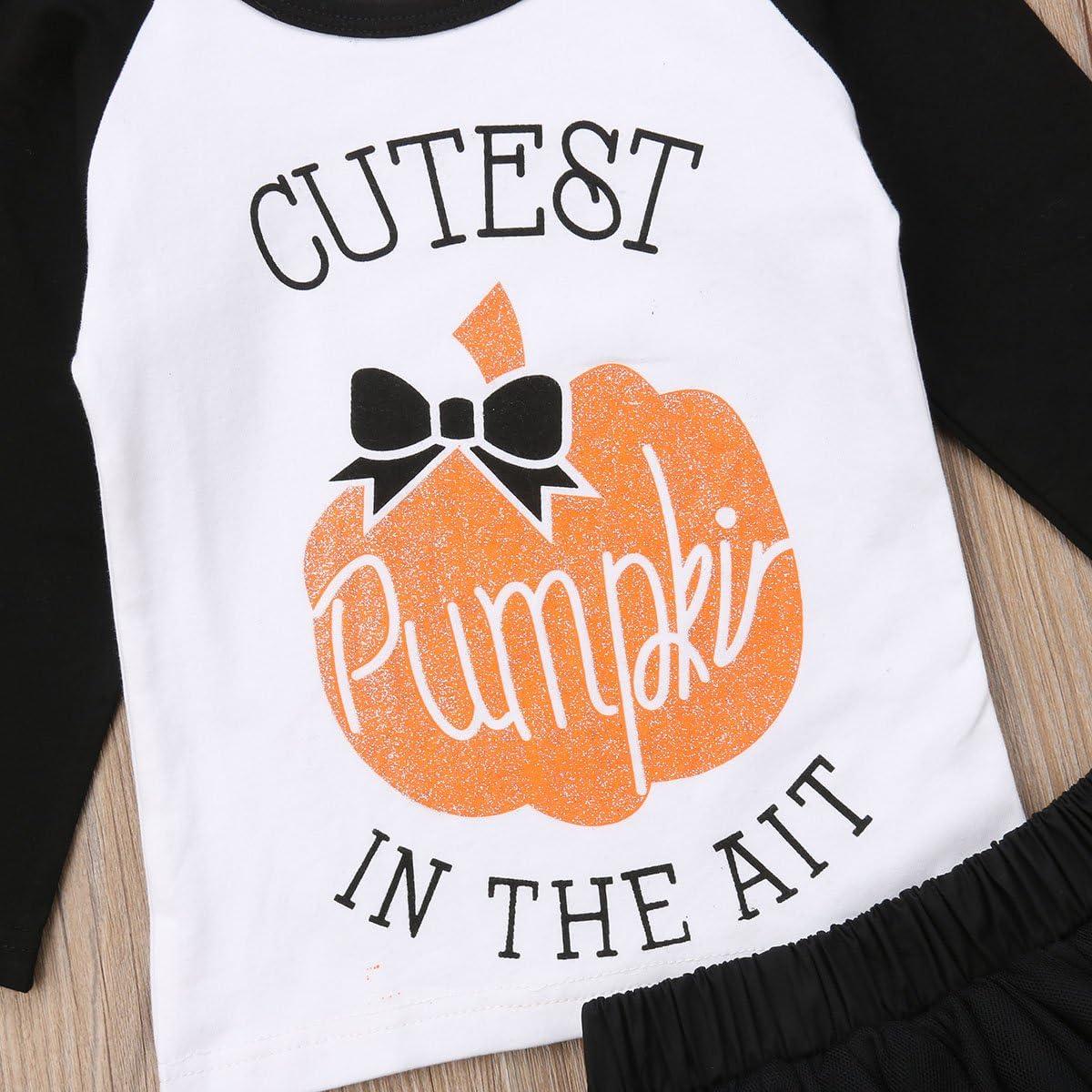 Tulle Skirts Outfits 2Pcs Set Halloween Baby Girls Tutu Dress Long Sleeves Pumpkin Tops