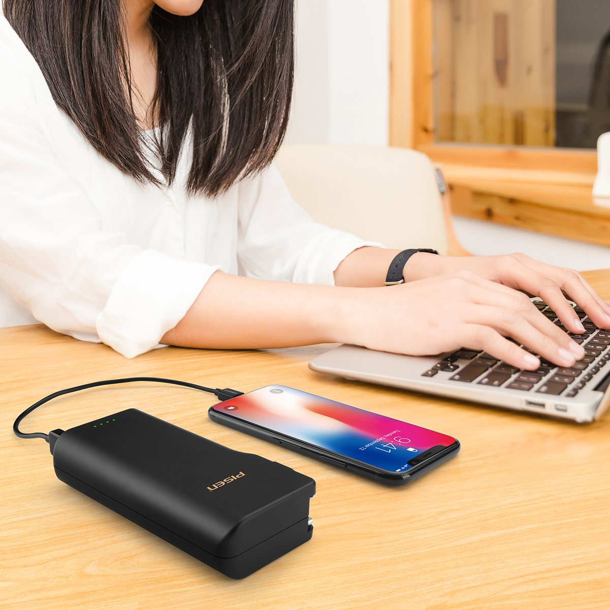 PISEN 2-in-1 Wall Charger and Power Bank 10000mAh
