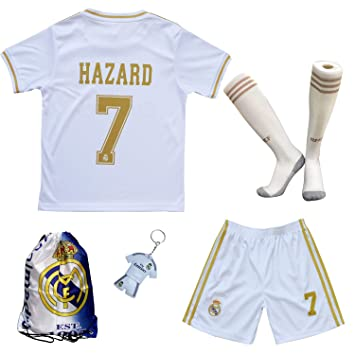 the best attitude 9988c f4709 GamesDur 2019/2020 Real Madrid Hazard #7 Home White Soccer Kids Jersey &  Short & Sock & Soccer Bag Youth Sizes