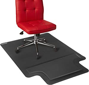 Ergohead Office Chair Mat Standing Cushion 54 x 36 Anti-Fatigue Mat for Hard Surface with Footrest, Anti-Slip, Non-Curve, Under The Desk Mat Best for Rolling Chair, Rectangular with Lip(Black)