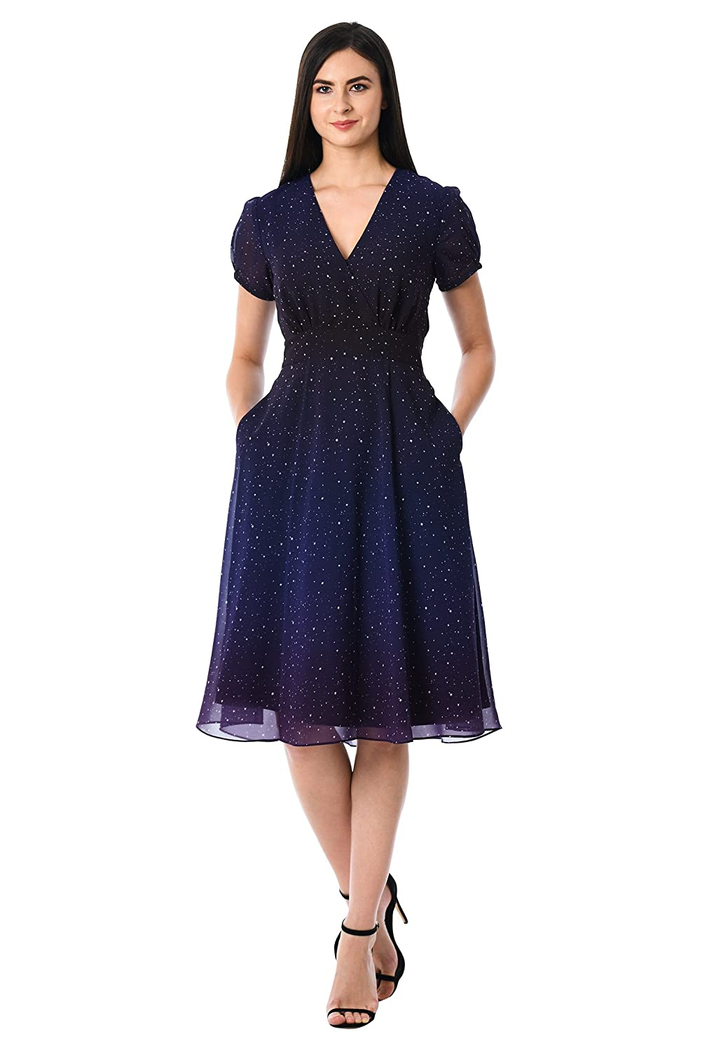 1950s Swing Dresses | 50s Swing Dress eShakti Womens Ombre Star Print Georgette Surplice Dress $74.95 AT vintagedancer.com