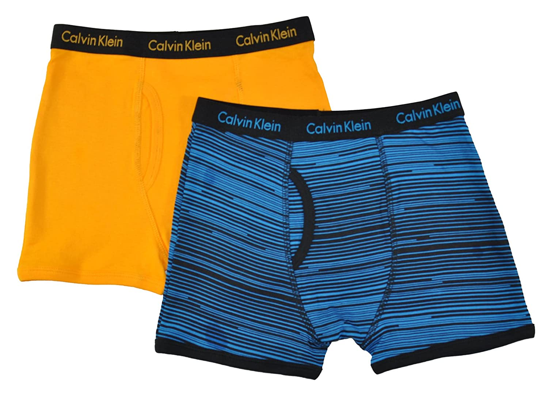 Calvin Klein Little/Big Boys' Assorted Boxer Briefs (Pack of 2), Orange/Blue/Black,4/5