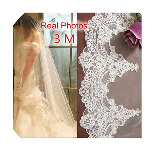 fa57a4b5af Real Photos 3M White Ivory Beautiful Cathedral Length Lace Edge Wedding  Bridal Veil With Comb Wedding Accessories MD3084 at Amazon Women s Clothing  store