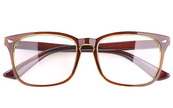 e09001326ebc Amazon.com  Agstum Classic Full Rim Plain Glasses Frame Eyeglasses Clear  Lens (Brown