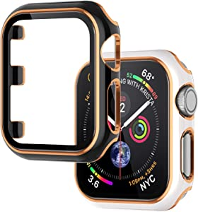 Wearlizer 2 Packs Case Compatible with Apple Watch Series 3 2 1 38mm with Screen Protector Full Cover Hard PC Protective Bumper Case Accessories for iWatch Women Men (Black White Bumper/Gold Edge)
