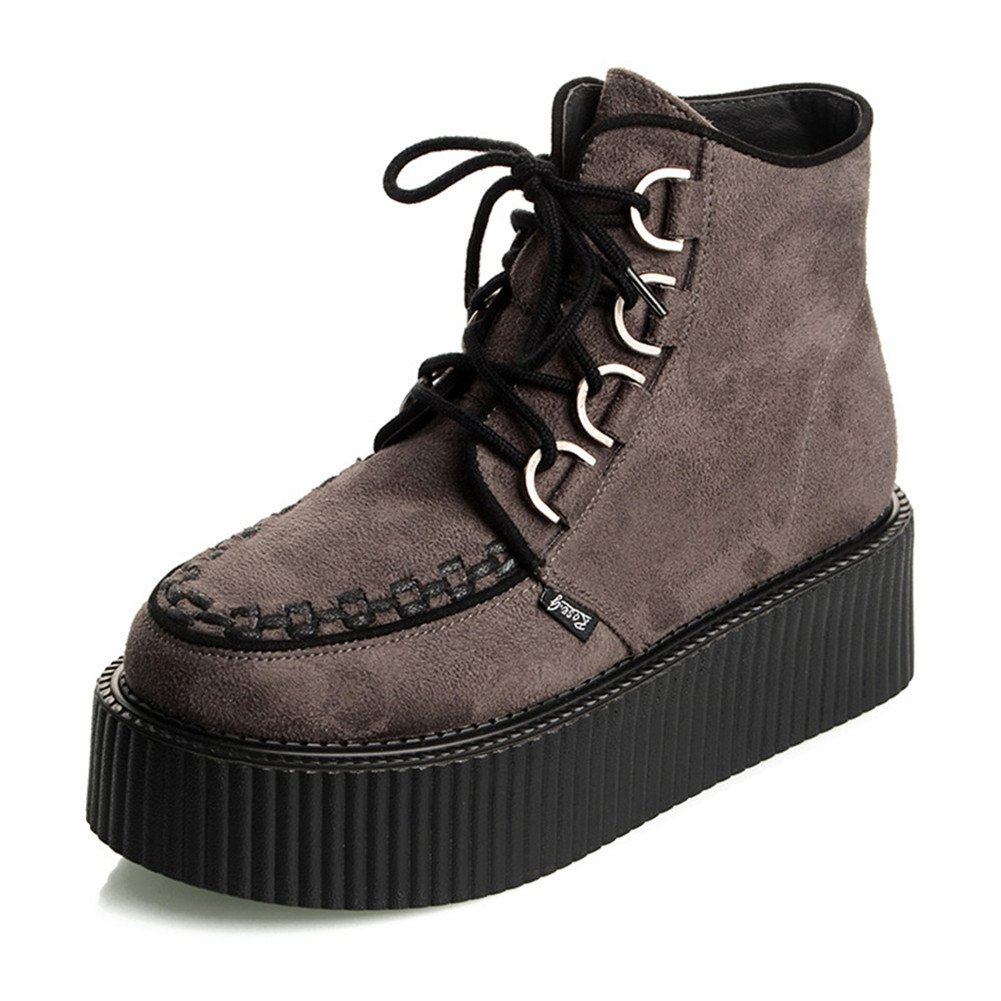 RoseG Women's High Top Suede Lace up Flat Platform Creepers Shoes Boots B075MHVF8D 10 B(M) US|Grey
