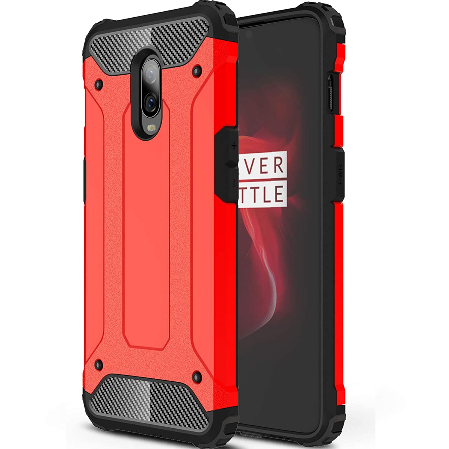 OnePlus 6T Case CJ Sunshine Dual Shockproof Hard Rugged Case for OnePlus 6T Smartphone (Red) Aidinar-001
