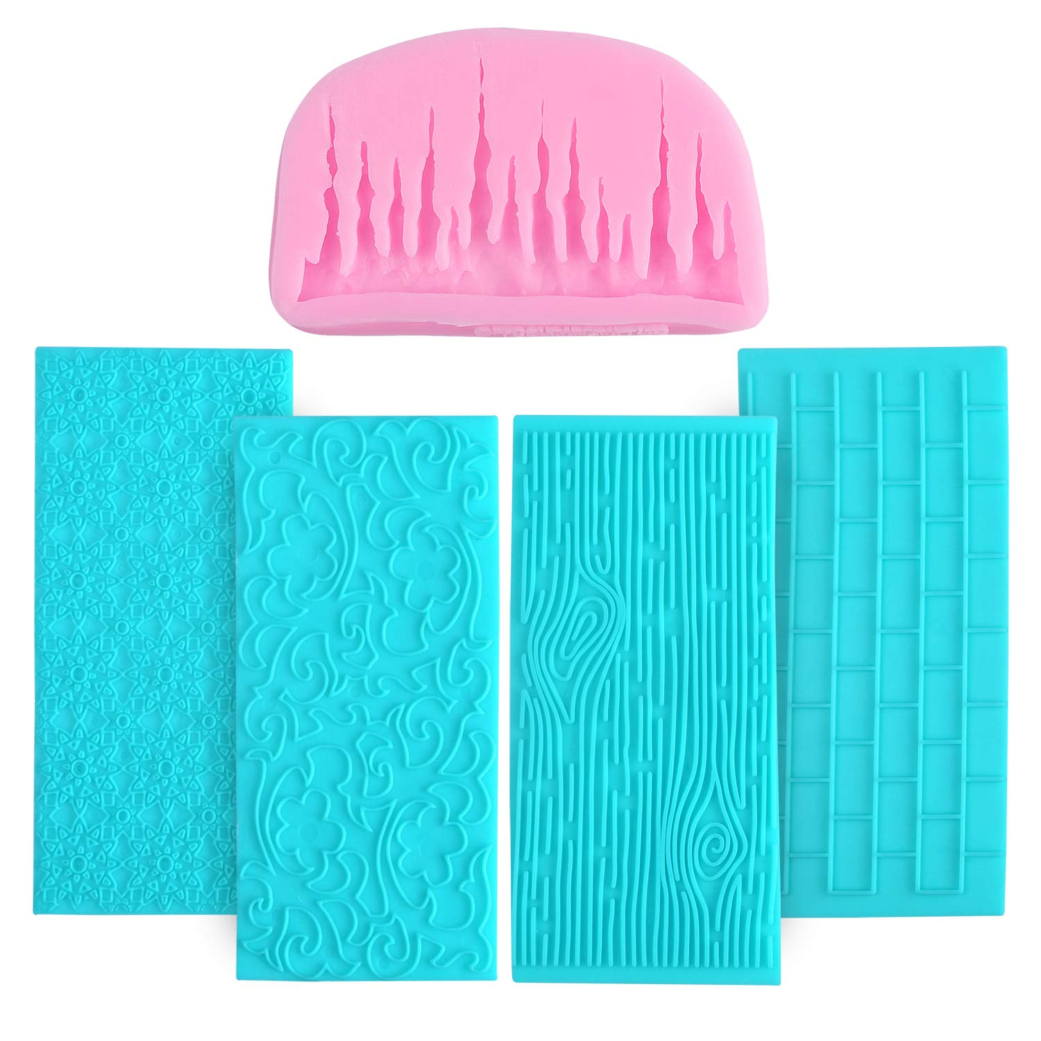 Fondant Impression Mat,3D Ice Shape Cake Fondant Molds with Texture Mold Set