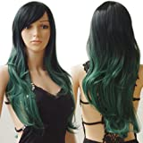 S-noilite Women Ombre Curly Wavy Long Hair Wigs Cosplay Anime Party Synthetic Full Wig Pink Purple 60cm