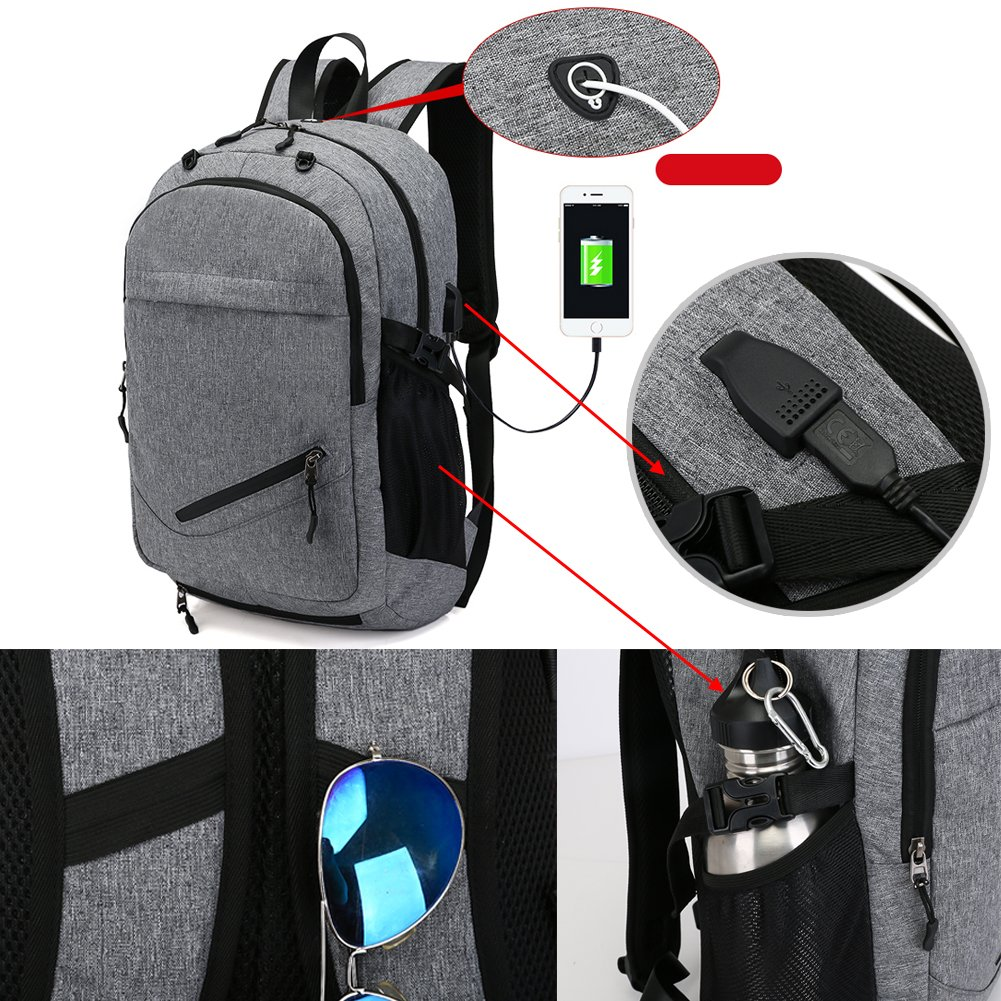 Laptop Bags, Backpack with Basketball Nets Mesh Sports Business Backpacks,Casual Travel Daypack Computer Shoulder Bag with USB Charging Port,Rain proof cover Fits UNDER 15 inch (Black) by TEGOOL (Image #7)