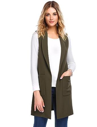 79663b027b Elever Women Casual Long Pocket Open Duster Blazer Cardigan Army Green L