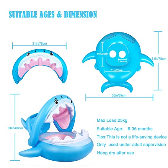 Flotador para Bebé Piscina Tiburón Tabla Hinchable con Inflable Toldo ,Barco Inflable Flotador para 6-36 Meses Niños