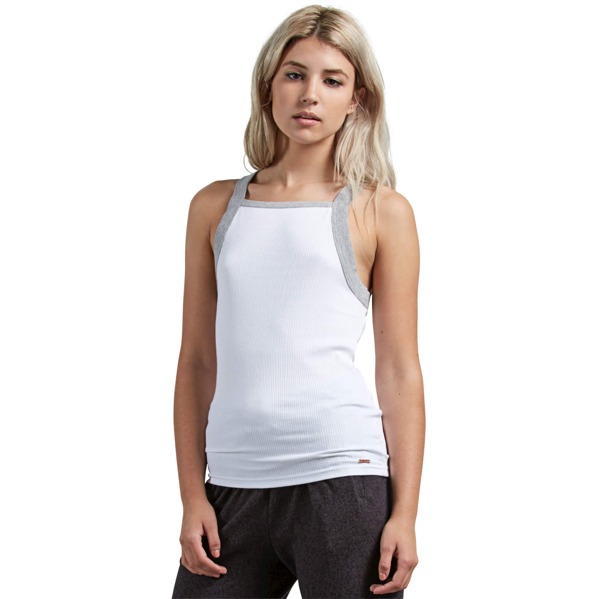 Volcom Junior's Lil Fitted Rib Basics Tank top Shirt, White, Extra Large