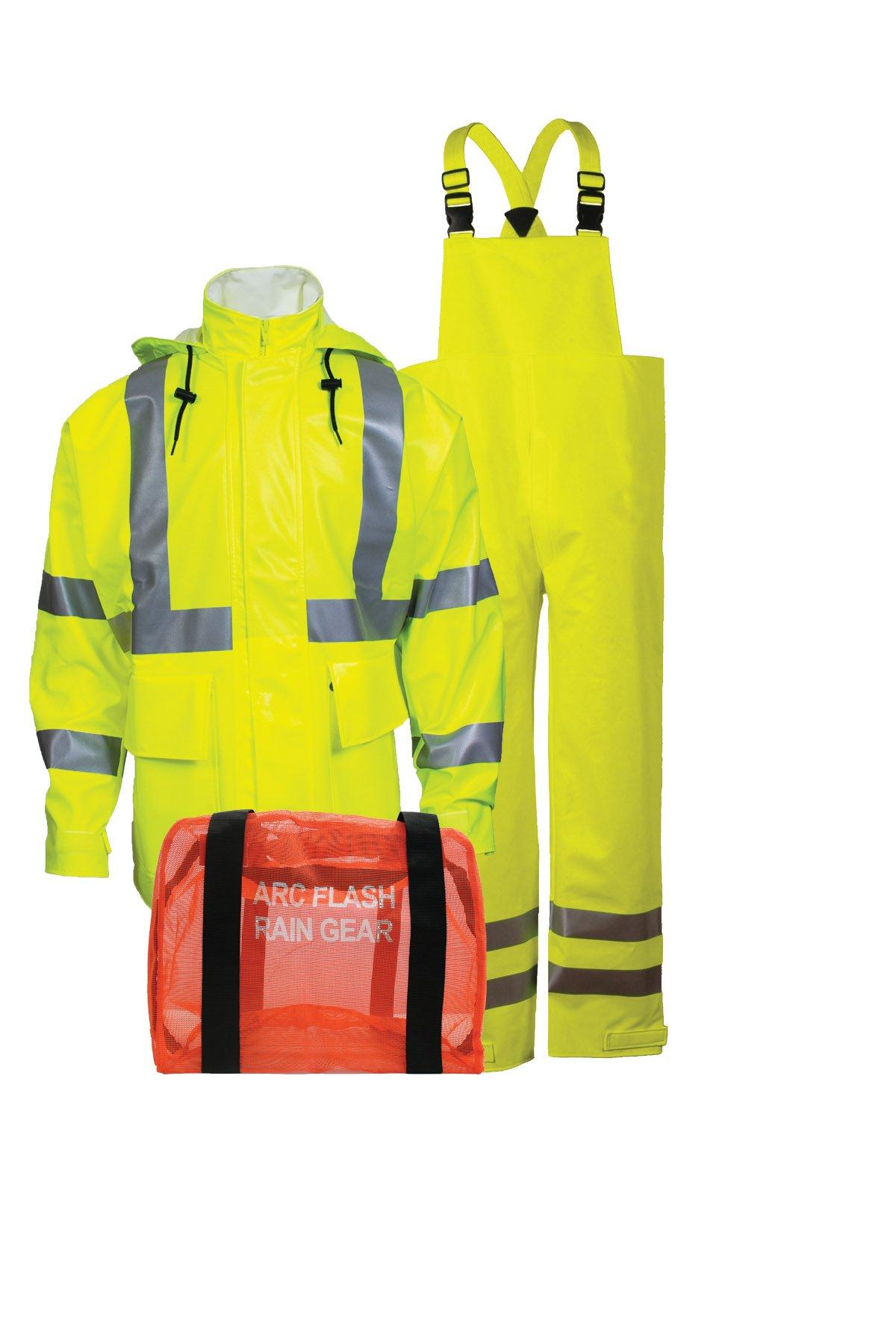 National Safety Apparel KITRLC32X 3 Piece Arc Rated Rainwear Jacket, Bib Pant and Mesh Gear Bag Kit, Class 3, 2X-Large, Fluorescent Yellow