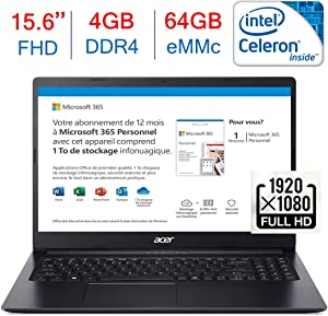 Acer Aspire 15.6-inch FHD(1920x1080) Laptop PC, Intel Celeron N4020 Processor, 4GB DDR4, 64GB eMMC, HDMI, Bluetooth, WiFi, Stereo Speaker, One-Year Office 365 Included, Windows 10 w/Mazery Mousepad