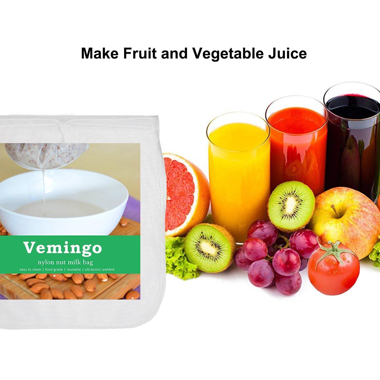 "Amazon.com: Vemingo Nut Milk Bag 12""x12"" Strainer Bag Reusable Milk Sack  for Almond Milk, Cashew Milk, Juice, Cheese, Coffee, Tea, Food Strainer 2  Pack: ..."