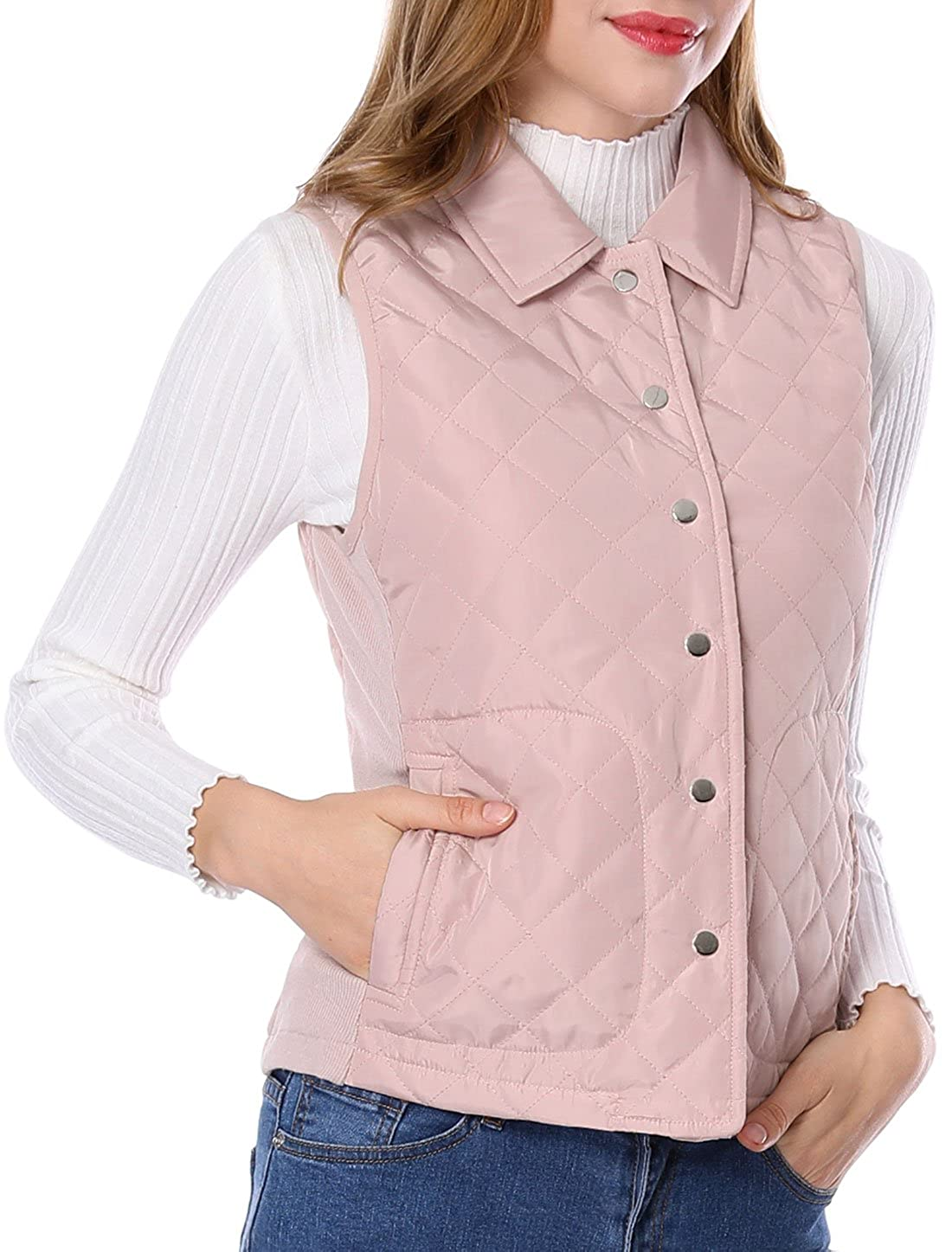 Allegra K Women's Single Breasted Ribbed Sides Lightweight Gilet Quilted Vest g17081000ux0008