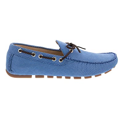 F.Nebuloni Driving Loafers in Blue Sky Nubuck Soft mini dot & Cognac Gambiere 100% Leather Hand Made for Men