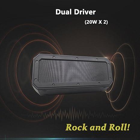 SINOBAND 40W portátil altavoz inalámbrico Bluetooth 4.2 impermeable IPX7 a prueba de golpes a prueba de choques 15 horas de juego TWS controlador dual ...
