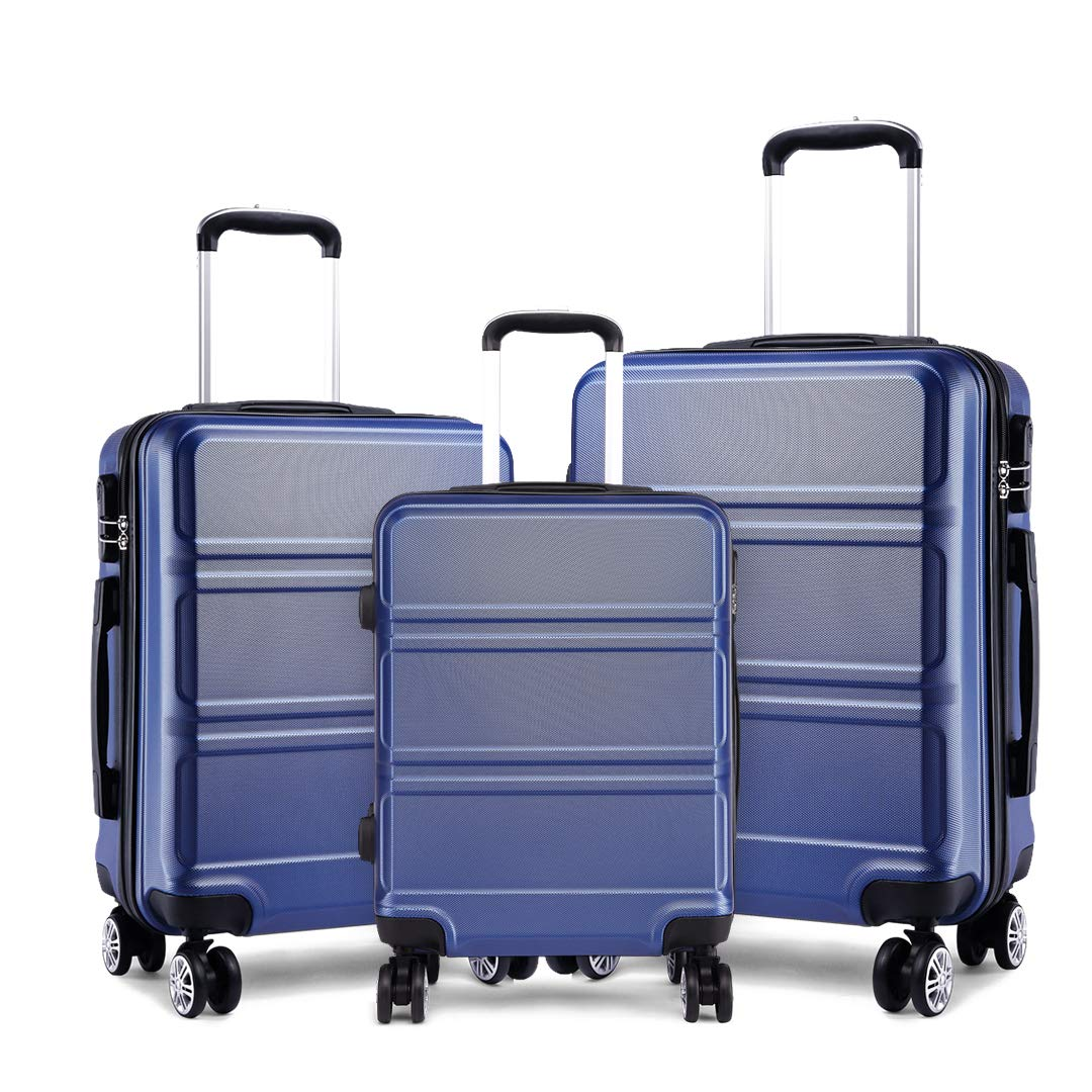 82c9b241d666 Kono Fashion Luggage Set of 3 PCS Lightweight ABS Hard Shell Trolley Travel  Case with 4 Spinner Wheels 20