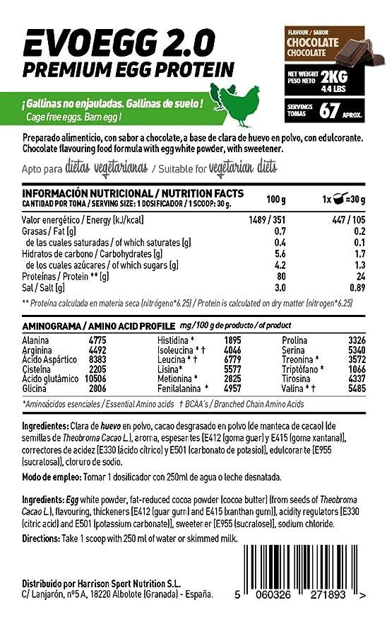 Proteína de Huevo de HSN Sports | Evoegg 2.0 | 100% Albúmina de Huevo en Polvo | Egg Protein | Ideal para personas intolerantes a la lactosa y ...