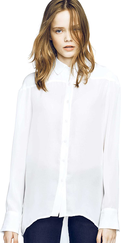 Caramelo, Camisa Fluida Oversize Pliegues, Mujer · Blanco ...
