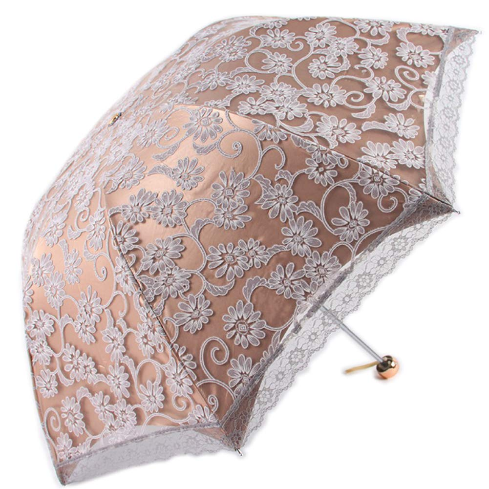 YYC Elegant Women's Chic Lace Flower Umbrella Anti UV Umbrella Portable 3 Folding Umbrella Parasol (Grey)