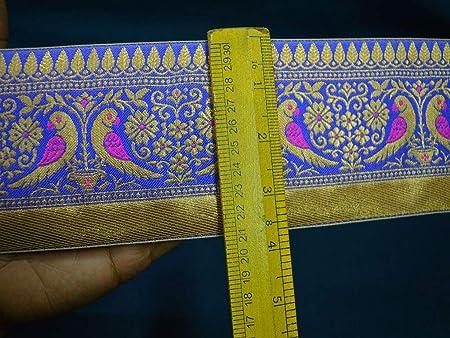 Native American - Geometric Design and Yellow Brocade Metallic Ribbon Trim Gold Black Red Blue