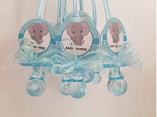 12 Elephant Pacifier Necklaces Baby Shower Games Favors Prizes 12 Blue or 12 Pink, You Pick!!. Boys, Girls RECUERDOS (Blue)