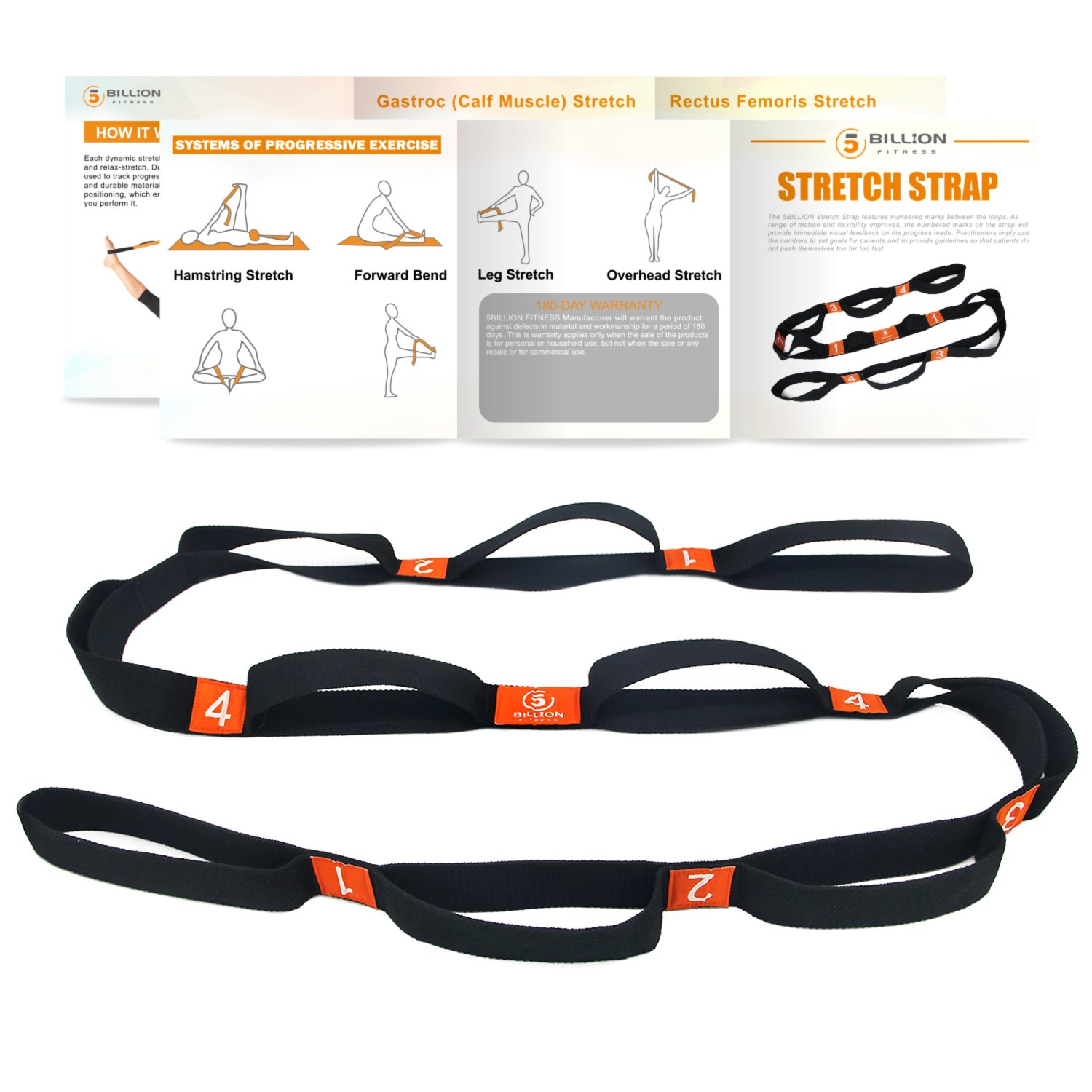 5BILLION Cotton Yoga Stretching Exercise Strap Band with Multiple Grip Loops for Hot Yoga, Physical Therapy, Greater Flexibility & Fitness Workout, 1.6'' W x 6.7' L
