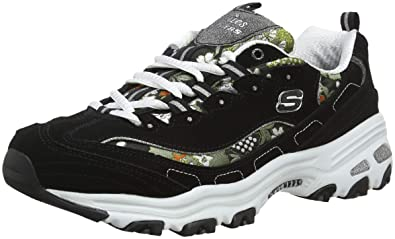 Skechers Dlites-Floral Days, Zapatillas para Mujer, Negro (Black White