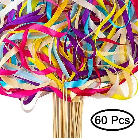 Sziqiqi 60 Piezas Cinta de Boda Varitas Mágicas con Campanas Hadas Stick Serpentinas Wish Bastoncillos para Boda Fiesta, Accesorios de Decoración de ...