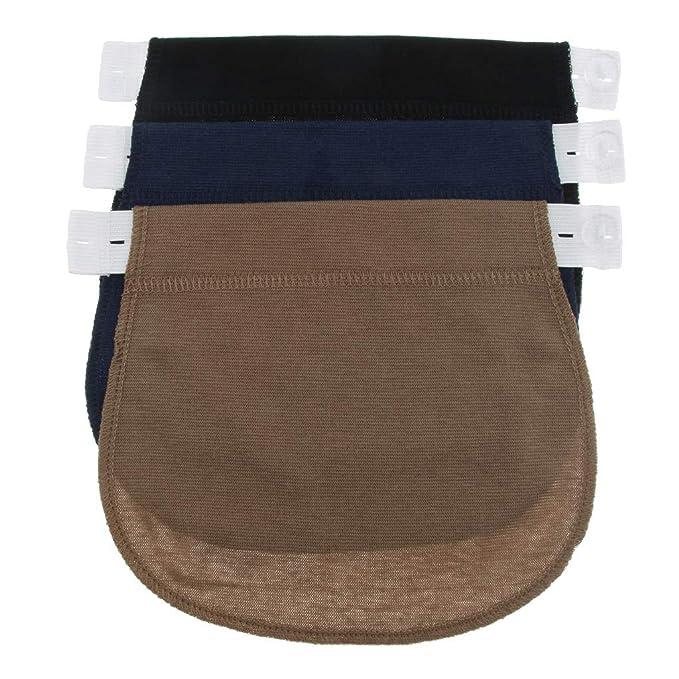 35d3ed943 P Prettyia 3pc Almohadillas Extensoras Elásticas Extensor Accesorio de Embarazo  para Hombres Mujeres Pantalones de Vestir - Negro + azul marino