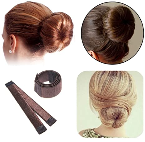 Café oscuro pelo (eléctrica, 2 Pack Magic Hair Styling Donut Bun ex de disco