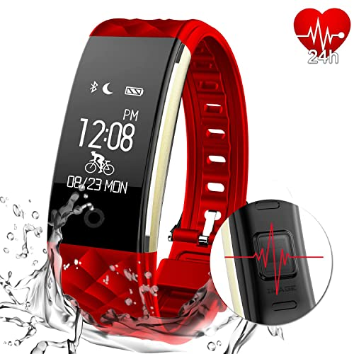 MYPIN Fitness Tracker Activity Heart Rate Monitor IP67 Waterproof Swimming Smart Wristband with Pedometer Sleep Monitor Step Calorie Call/SMS Reminder for iPhone X/8/8plus/7 Samsung S8/note 8 (Black)
