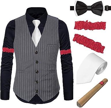 EFORLED Chaleco de Rayas Gatsby de los años 20 para Hombre, Camisa ...