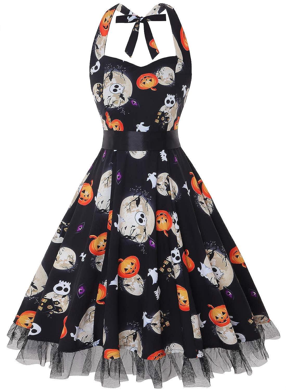 TALLA XL. oten Vestidos 50s Vintage Rockabilly de Halterneck de Cóctel Fiesta de Las Mujeres Pumpkin Skull XL