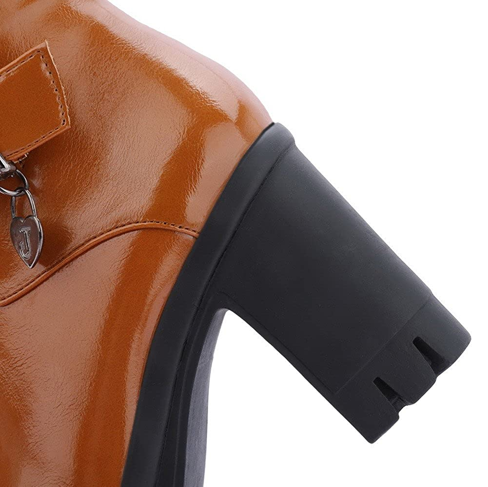 WeenFashion Women's Solid High-Heels Closed Boots Round Toe PU Zipper Boots Closed B01N1SLDIB Platform 6d86e5
