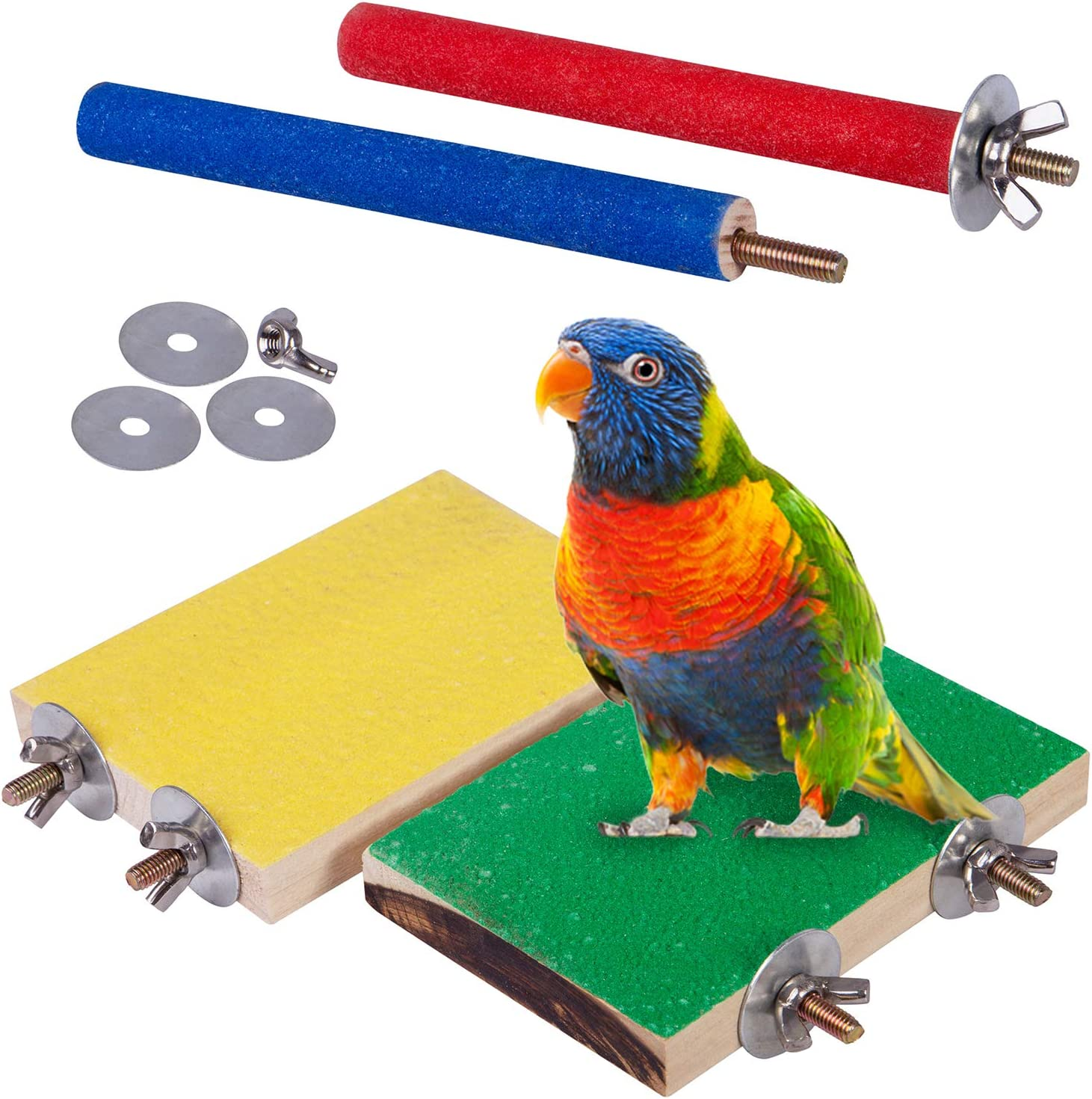 Wooden Parrot Bird Platform Perch Stand for Budgie Conure Parrot Cages Toys