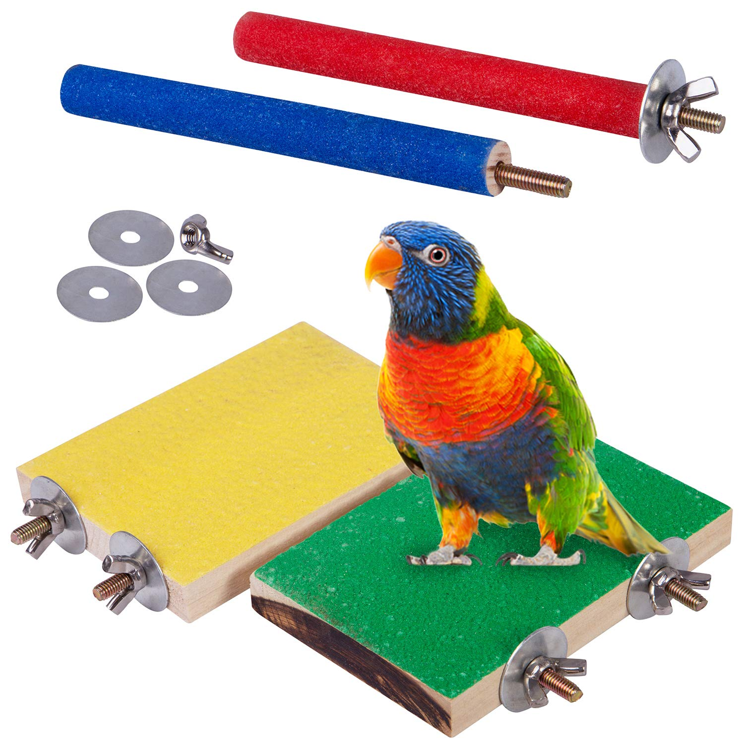 Petsvv 4 PCS Bird Perch Stand Toy, Wood Parrot Perch Stand Platform Paw Grinding Stick, Cage Accessories Exercise Toys Budgies Parakeet Cockatiel Conure Hamster Gerbil Rat Mouse by Petsvv