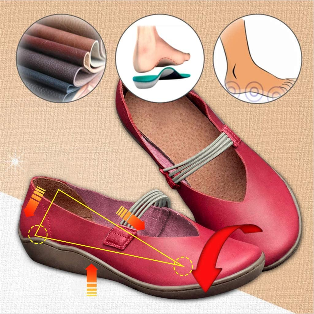 Dainzuy Shoes for Women Comfort Slip on Driving Loafer Flat Casual Leather Round Toe Casual Single Walking Shoes