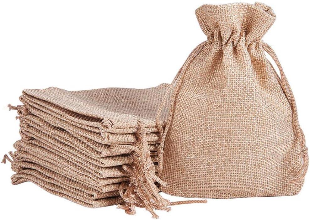 Lezed 20 pcs Bolsita Saco de Yute Bolsas de Arpillera Bolsas de Joyas Cordón Bolsa de Lino Bolsa de Yute Bolsas de Arpillera con Bolsas de Cordón de Regalo para Fiesta de Boda y Artesanía de DIY