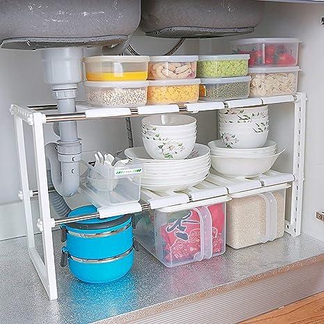 Estante organizador ajustable extensible multiusos para cocina, baño, debajo del lavabo, color blanco