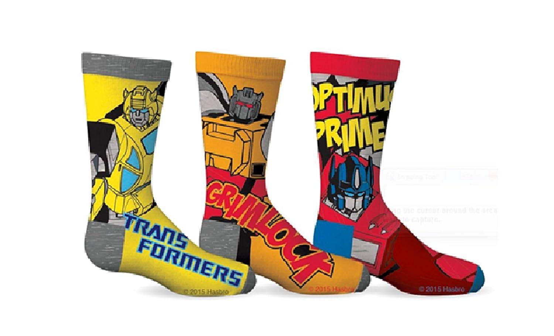 Transformers Boys Optimus Prime & Grimlock 3-Pack Crew Socks GERtx