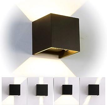 12W LED Apliques de Pared Interior/exterior, Lamparas de salon modernas, Lamparas de comedor, Dormitorio, Jardín De Iluminacion con ángulo ajustable Diseño impermeable IP65 3000K Blanco Cálido (Negro): Amazon.es: Iluminación