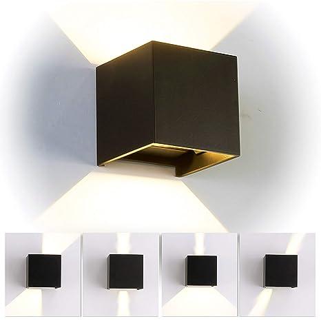 12W LED Apliques de Pared Interior/exterior, Lamparas de salon modernas,  Lamparas de comedor, Dormitorio, Jardín De Iluminacion con ángulo ajustable  ...