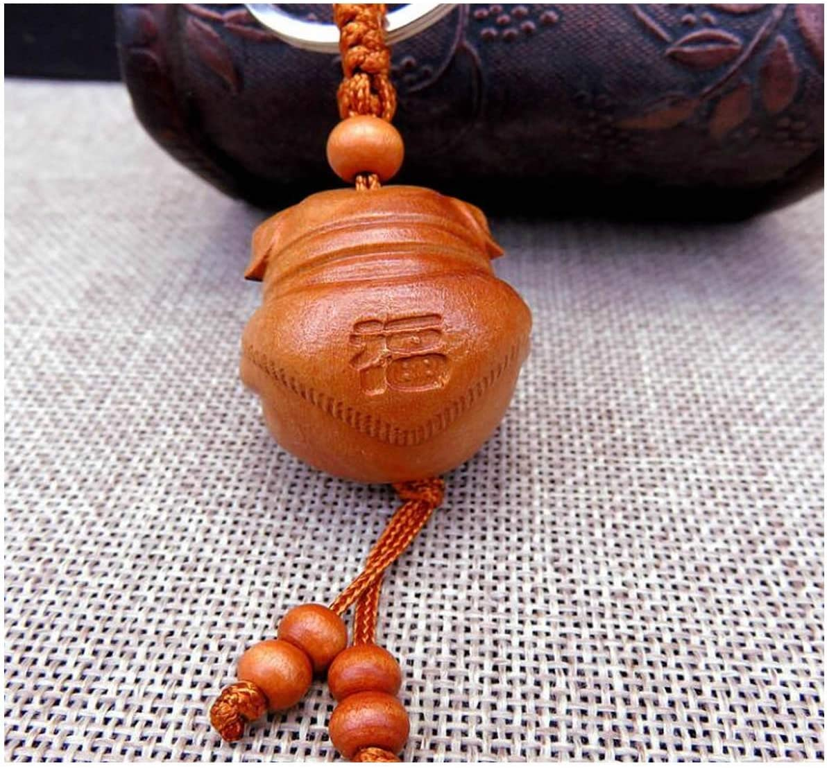 Brown 4.72inch ISKYBOB Set of 3 Lucky Pig Keychain Natural Peac Wooden Carved Animal Key Rings Charm The Zodiac Ingots for Lucky Fortune Wealth Car Bag Key Decoration Women Mens Gifts