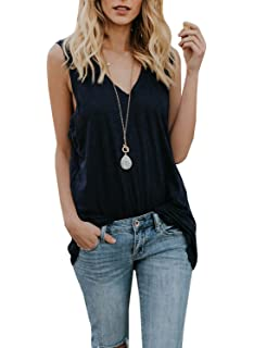 40971e2509c57 Dellytop Womens Workout Long Tank Tops Casual Loose Fit V Neck Sleeveless  Tunics Oversized Shirts