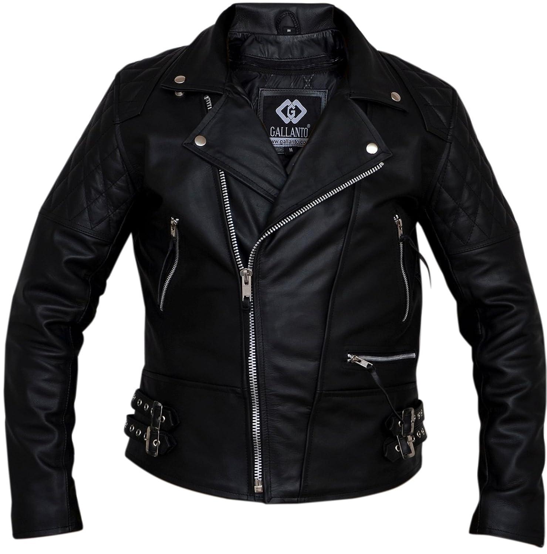 Leather jacket uk mens - Classic Diamond Biker Motorcycle Leather Jacket